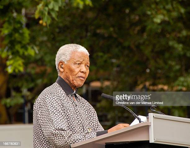 CONTENT] Nelson Mandela former president of South Africa speaks at a ceremony to unveil a statue of himself in Parliament Square London 29 August 2007