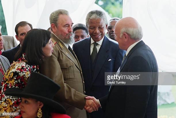 Nelson Mandela FW De Klerk and Fidel Castro at Inauguration Ceremony