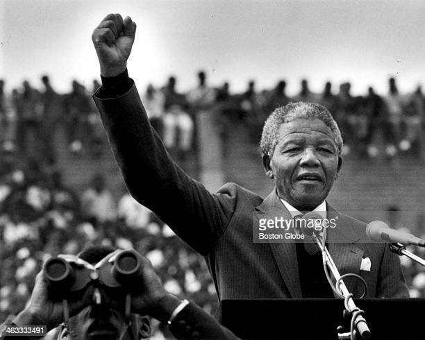 Nelson Mandela gestured to supporters in Soweto two days after his release from prison in Cape Town He addressed more than 100000 people inside a...