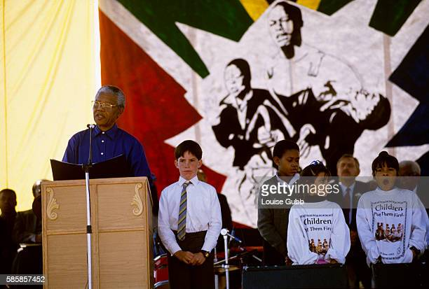 Nelson Mandela gives a speech during the commemoration of the 1976 student riots Former President of South Africa and longtime political prisoner...