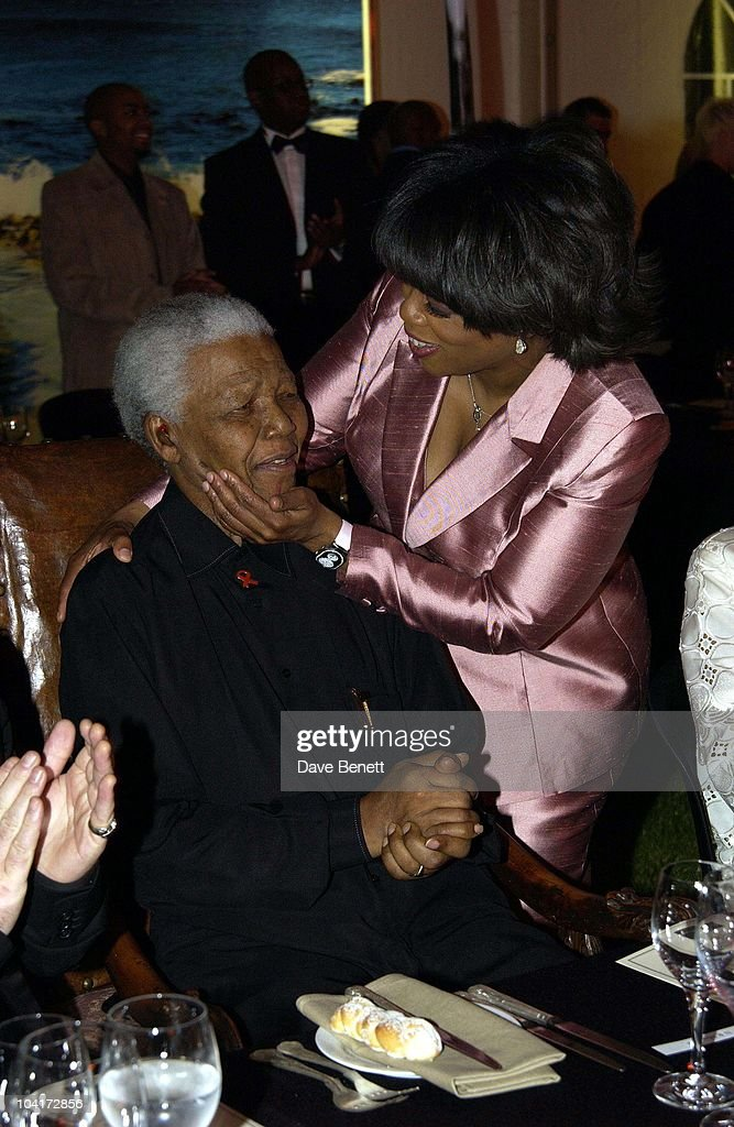 Nelson Mandela Greets Oprah Winfrey, The Stars Of Rock And Roll Join Forces For Nelson Mandela's 46664 Concert In Cape Town, South Africa. In The Pre, Concert Build Up, This Evening A Gala Dinner Was Held At The Vergelegen Estate Outside Cape Town, South Africa Gears Up For Aids Awareness Mandela Concert 46664. The Concert Is In Association With Mtv's Staying Alive & Www.46664.com Powered By Tiscali.