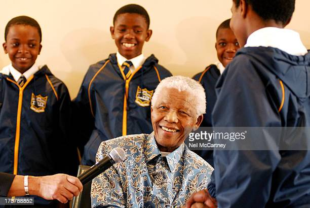 Nelson Mandela met with the soccer team from Bree Primary School in Mayfair, Johannesburg at Nelson Mandela House in Johannesburg. Bree Primary...