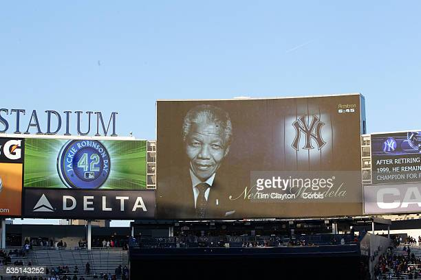 Nelson Mandela on the big screen at Yankee Stadium during the New York Yankees V Chicago Cubs double header game two at Yankee Stadium The Bronx New...