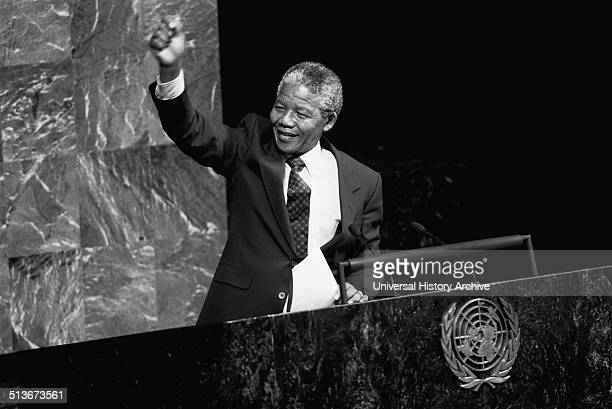 Nelson Mandela President of South Africa 19941998 addressing the UN General Assembly