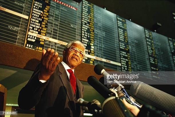 Nelson Mandela President of South Africa addresses stockbrokers at the Johannesburg stock exchange