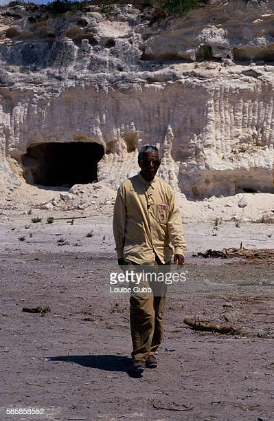 Nelson Mandela revisits the lime quarry where he and other Robben Island prisoners worked President of South Africa and longtime political prisoner...