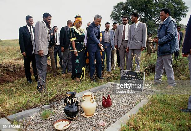 Nelson Mandela says a prayer over his mother's grave Former President of South Africa and longtime political prisoner Nelson Mandela was held by the...