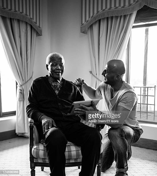 Nelson Mandela sits for a portrait by photographer and filmmaker Adrian Steirn as part of the 21 Icons South Africa series in September 2011 at his...