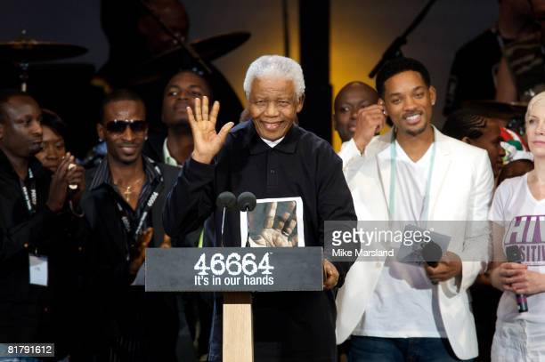 Nelson Mandela speaks at the 46664 Concert as part of his 90th birthday celebrations on June 27, 2008 in Hyde Park, London.