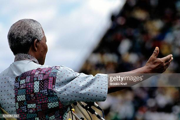 Nelson Mandela speaks to supporters at a campaign event. After more then 27 years in jail as an anti-apartheid activist, Nelson Mandela lead a 1994...