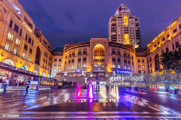 nelson mandela square in the evening, johannesburg - sandton stock pictures, royalty-free photos & images
