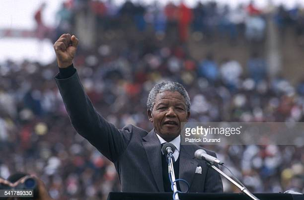 Nelson Mandela two days after his liberation welcomed by 100000 people in the city's soccer stadium