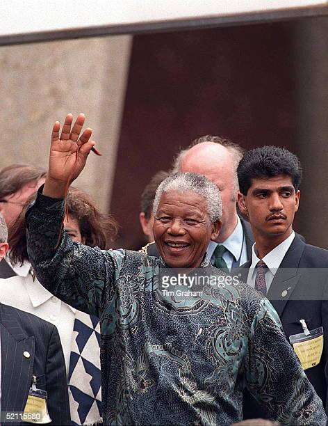 Nelson Mandela Waving To The Crowds In London At The End Of His State Visit To Britain