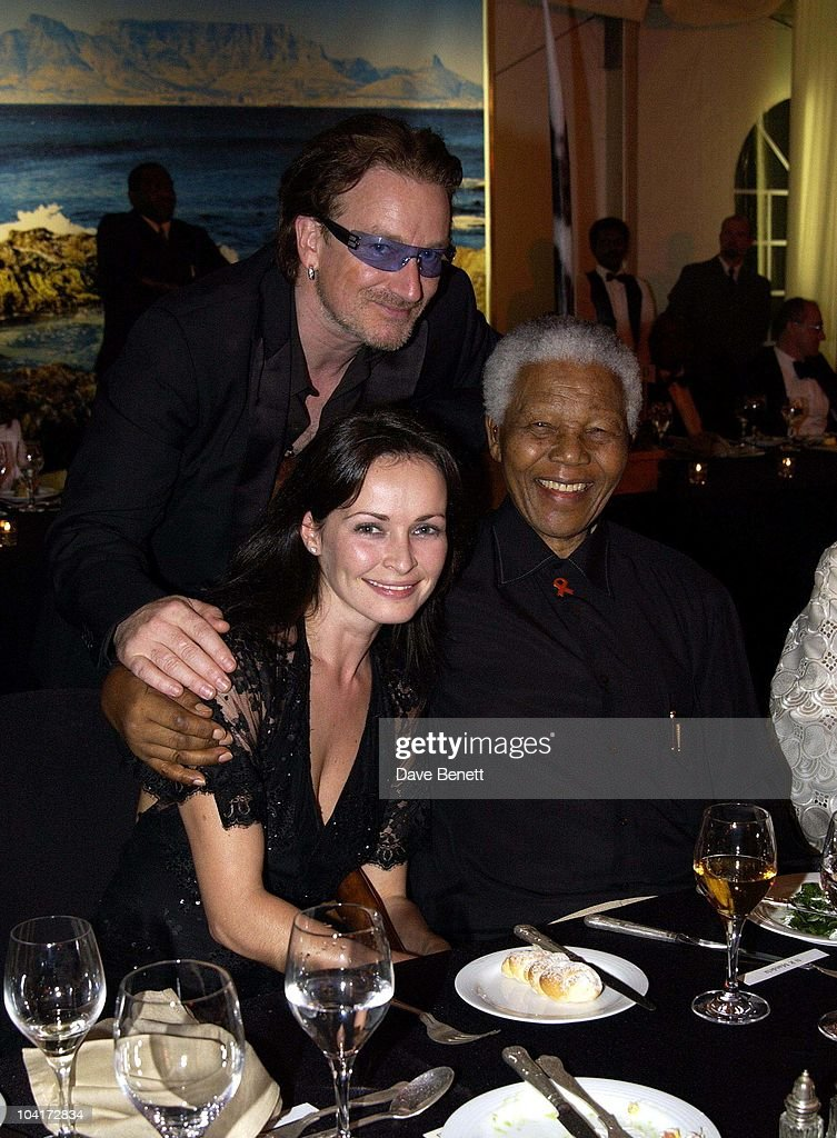 Nelson Mandela With Bono (u2) And Corr, The Stars Of Rock And Roll Join Forces For Nelson Mandela's 46664 Concert In Cape Town, South Africa. In The Pre, Concert Build Up, This Evening A Gala Dinner Was Held At The Vergelegen Estate Outside Cape Town, South Africa Gears Up For Aids Awareness Mandela Concert 46664. The Concert Is In Association With Mtv's Staying Alive & Www.46664.com Powered By Tiscali.