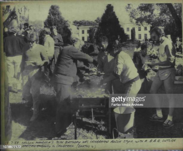 Nelson Mandela's 70th birthday was celebrated Aussie style with a BBQ outside the South African Embassy in Canberra July 18 1988
