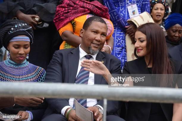 Nelson Mandela's grandson Mandla and his wife Nkosikazi Nosekeni Rabia Mandela and Nodiyala Mbali Makhathini during the official memorial service of...