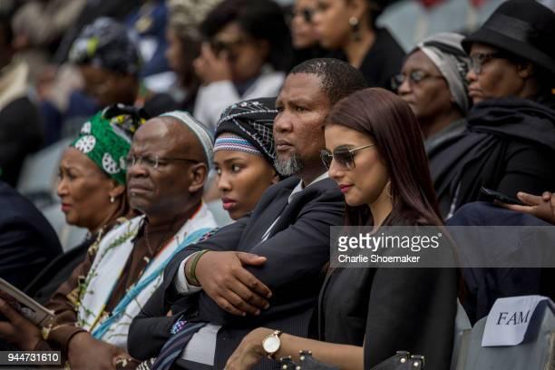 Nelson Mandela's grandson Mandla and his wives Nkosikazi Nosekeni Rabia Mandela and Nodiyala Mbali Makhathini attend the Memorial Service for Winnie...