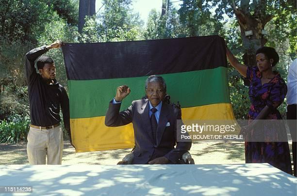 Nelson Mandela's liberation in South Africa on February 11 1990 Nelson Mandela at Desmond Tutu's residence in Cape Town