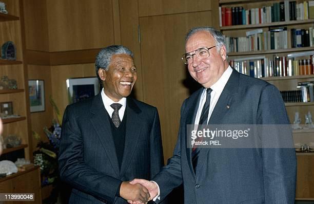 Nelson Mandela's visit in Bonn Germany on June 12 1990with Helmut Kohl