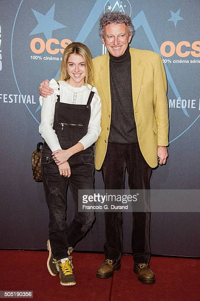 Nelson Monfort and his daughter Victoria attend the 18th L'Alpe D'Huez International Comedy Film Festival on January 15 2016 in Alpe d'Huez France
