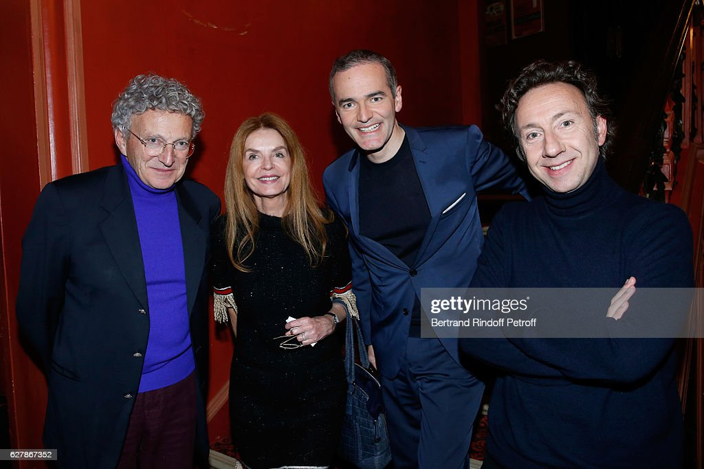 Nelson Monfort, Cyrielle Clair, Franck Ferrand and Stephane Bern pose after Franck Ferrand performed in his Show 'Histoires' at Theatre Antoine on December 5, 2016 in Paris, France.