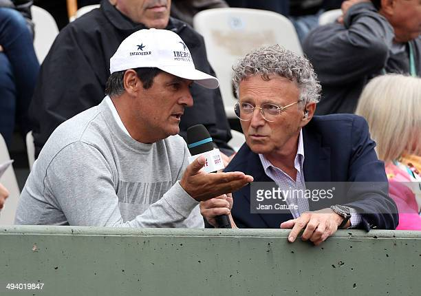 Nelson Monfort interviews Toni Nadal during Roland Garros French Tennis Open 2014 Day 2 on May 26 2014 in Paris France
