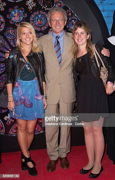 Nelson Monfort with his daughters Victoria and Isaure attend Sister Act The Musical Gala Premiere at Theatre Mogador in Paris
