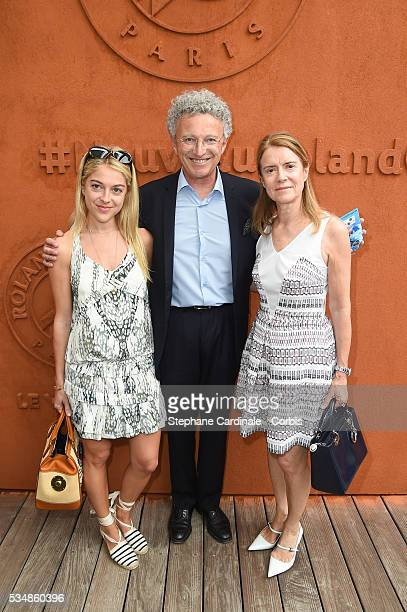 Nelson Monfort with his Wife Dominique and daughter Victoria attend day seven of the 2016 French Open at Roland Garros on May 28 2016 in Paris France
