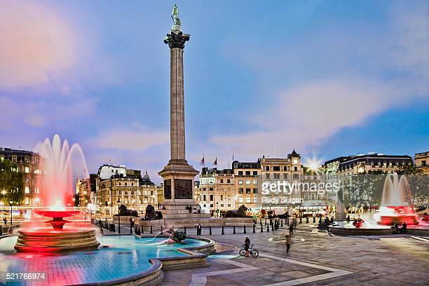 nelson monument on trafalgar square - nelson's column stock photos and pictures