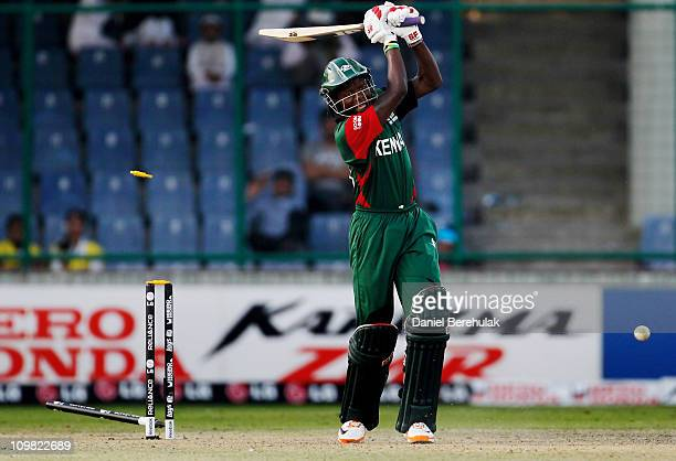 Nelson Odhiambo of Kenya is bowled by Henry Osinde of Canada during the ICC Cricket World Cup group A match between Canada and Kenya at Feroz Shah...