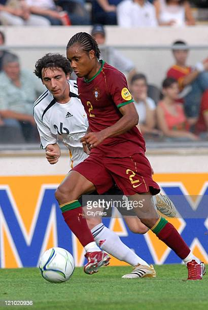 Nelson of Portugal and Roberto Hilbert of Germany during the 2006 UEFA European Under 21 Championship Group A match between Germany and Portugal in...