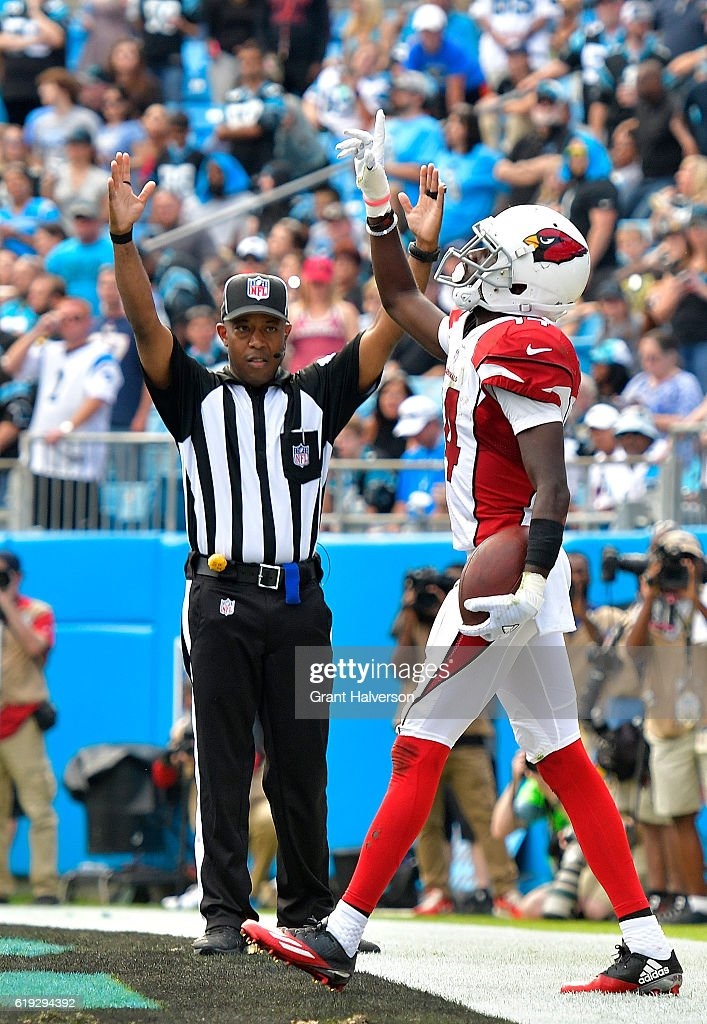 J.J. Nelson #14 of the Arizona Cardinals reacts after scoring a 4th quarter touchdown against the Carolina Panthers during the game at Bank of America Stadium on October 30, 2016 in Charlotte, North Carolina.