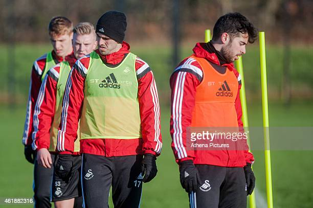 Nelson Oliveira and Jordi Amat warming up during during the Swansea City Training Session on January 21 2015 in Swansea Wales