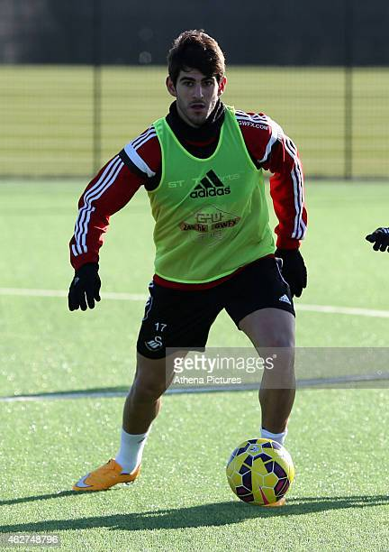 Nelson Oliveira controls the ball during a Swansea City training session at Fairwood training ground on February 4 2015 in Swansea Wales