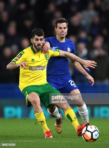 Nelson Oliveira of Norwich City and Cesar Azpilicueta of Chelsea in action during The Emirates FA Cup Third Round Replay between Chelsea and Norwich...