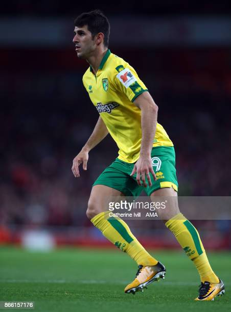 Nelson Oliveira of Norwich City during the Carabao Cup Fourth Round match between Arsenal and Norwich City at Emirates Stadium on October 24 2017 in...