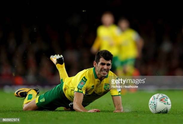 Nelson Oliveira of Norwich City falls during the Carabao Cup Fourth Round match between Arsenal and Norwich City at Emirates Stadium on October 24...