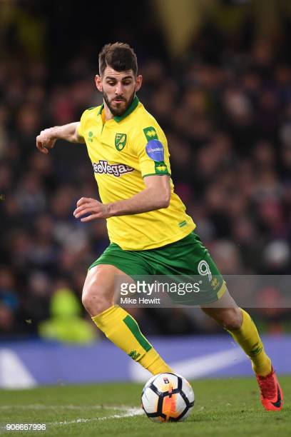 Nelson Oliveira of Norwich City in action during The Emirates FA Cup Third Round Replay between Chelsea and Norwich City at Stamford Bridge on...