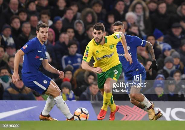 Nelson Oliveira of Norwich City runs with the ball during The Emirates FA Cup Third Round Replay between Chelsea and Norwich City at Stamford Bridge...