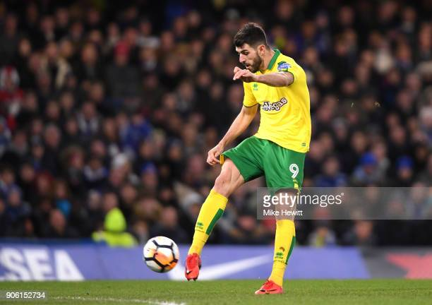 Nelson Oliveira of Norwich City shoots and hits the crossbar during The Emirates FA Cup Third Round Replay between Chelsea and Norwich City at...