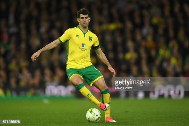 Nelson Oliveira of Norwich in action during the Sky Bet Championship match between Norwich City and Brighton Hove Albion at Carrow Road on April 21...