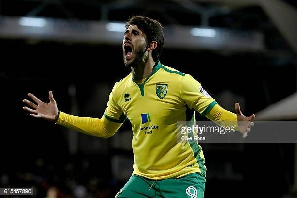Nelson Oliveira of Norwich reactsl during the Sky Bet Championship match between Fulham and Norwich City at Craven Cottage on October 18 2016 in...