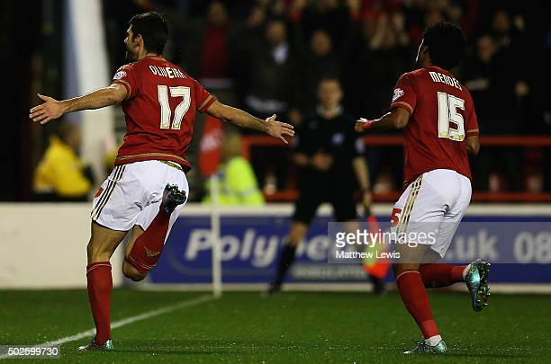 Nelson Oliveira of Nottingham Forest celebrates his goal during the Sky Bet Championship match between Nottingham Forest and Leeds United on December...