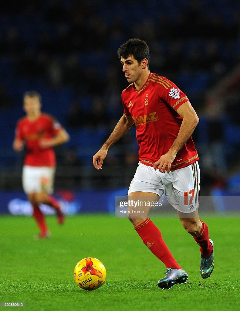 Nelson Oliveira of Nottingham Forest during the Sky Bet Championship match between Cardiff City and Nottingham Forest at the Cardiff City Stadium on December 29, 2015 in Cardiff, Wales.