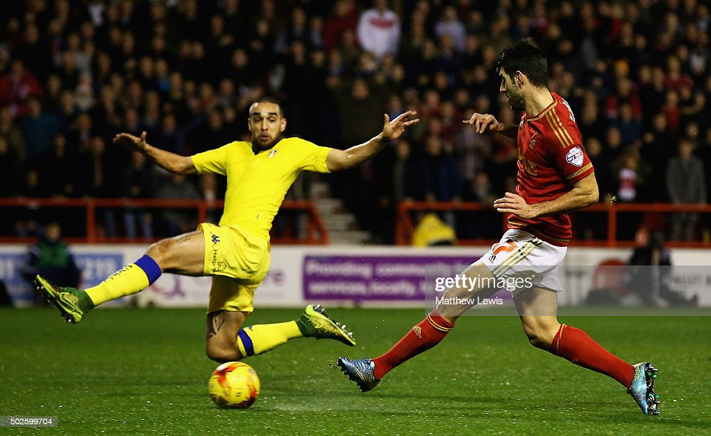 Nelson Oliveira of Nottingham Forest scores a goal during the Sky Bet Championship match between Nottingham Forest and Leeds United on December 27, 2015 in Nottingham, United Kingdom.