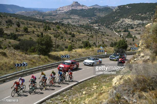 Nelson Oliveira of Portugal and Movistar Team / Dorian Godon of France and Team AG2R La Mondiale / Dylan Teuns of Belgium and Team Bahrain-Merida /...