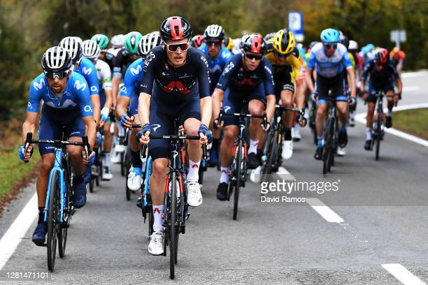 Nelson Oliveira of Portugal and Movistar Team / Dylan Van Baarle of The Netherlands and Team INEOS - Grenadiers / Cameron Wurf of Australia and Team...