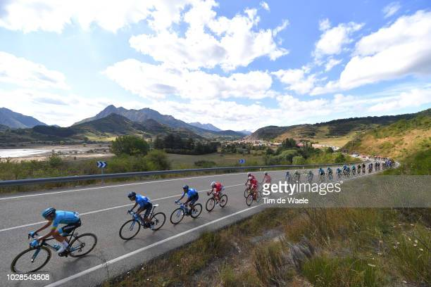 Nelson Oliveira of Portugal and Movistar Team / Imanol Erviti of Spain and Movistar Team / Jesus Herrada of Spain and Team Cofidis Red Leader Jersey...
