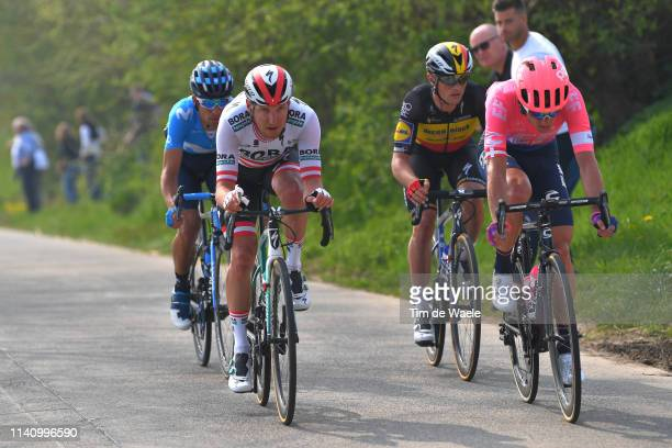 Nelson Oliveira of Portugal and Movistar Team / Lukas Pöstlberger of Austria and Team Bora-Hansgrohe / Matti Breschel of Denmark and Team Ef...