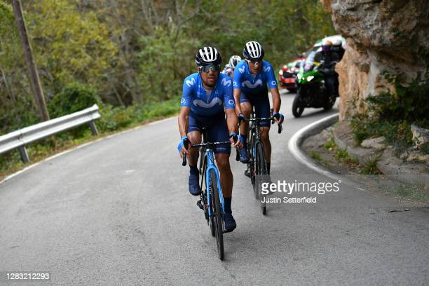 Nelson Oliveira of Portugal and Movistar Team / Marc Soler Gimenez of Spain and Movistar Team / during the 75th Tour of Spain 2020, Stage 11 a 170km...